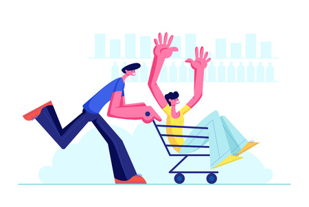 Couple of Teenagers Fool in Supermarket Riding Trolley. Happy Boy Pushing Shopping Cart with his Friend Sitting inside. Teens Happy Sparetime, Leisure, Vacation, Fun. Cartoon Flat Vector Illustration