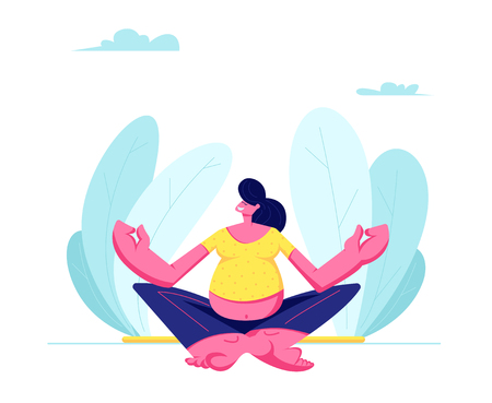 Young Pregnant Woman Sitting in Lotus Pose Doing Yoga Meditation Outdoors. Health Care, Pregnancy Exercises, Maternity. Female Character Child Bearing, Awaiting Baby. Cartoon Flat Vector Illustration Ilustracja