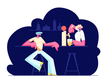Young Man Sitting in Pub Ordering Alcohol Drink. Female Barista Pouring Beer to Glass Cup. Nightlife Sparetime, Leisure, Relaxing Male Character in Night Bar, Weekend. Cartoon Flat Vector Illustration 일러스트
