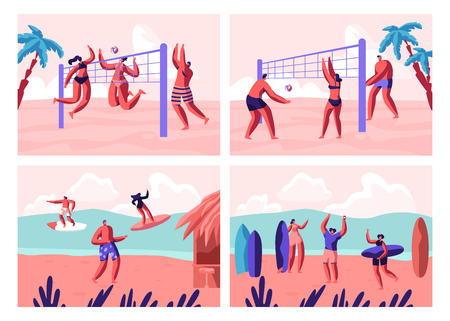 Beach Volleyball and Surfing Set. People Playing with Ball on Seaside and Surf Boards on Sea Waves. Sports Activity on Summer Time Vacation Leisure, Recreation, Sport. Cartoon Flat Vector Illustration Illustration