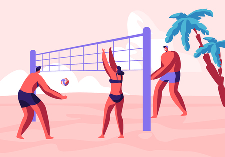 Teenagers Team Playing Beach Volleyball on Exotic Ocean Sandy Coast with Palms. Game Tournament, Summer Vacation Sport Activity, Leisure, Recreation, Healthy Lifestyle Cartoon Flat Vector Illustration Illustration