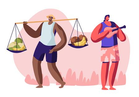 Nativi che lavorano sulla spiaggia della città nel paese tropicale esotico. L'uomo vende frutta ai turisti, il musicista che suona l'ukulele alle persone rilassanti. Illustrazione piana di vettore del fumetto del lavoro di stagione estiva Vettoriali