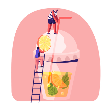 Little People on Ladder Put Slice of Orange to Huge Plastic Glass with Juice, Mint Leaves and Straw. Male and Female Characters Drinking Cold Drinks at Summer Time. Cartoon Flat Vector Illustration