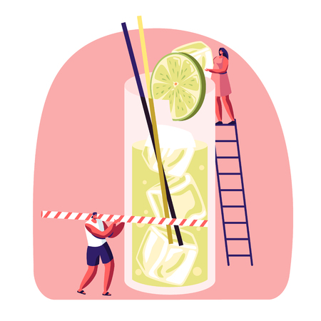 Tiny People on Ladder Put Slice of Lime to Big Glass with Juice, Ice Cubes and Straw. Male and Female Characters Drinking Cold Drinks and Sweet Beverage at Summer Time Cartoon Flat Vector Illustration