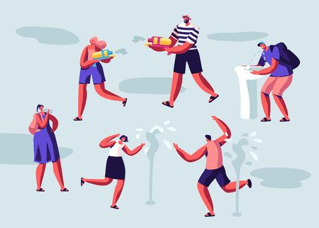 Gente feliz chapoteando y jugando con agua en el clima caluroso de la temporada de verano. Personajes masculinos y femeninos bebiendo agua, disparando con pistolas de agua de juguete, lavándose la cara. Ilustración de Vector plano de dibujos animados