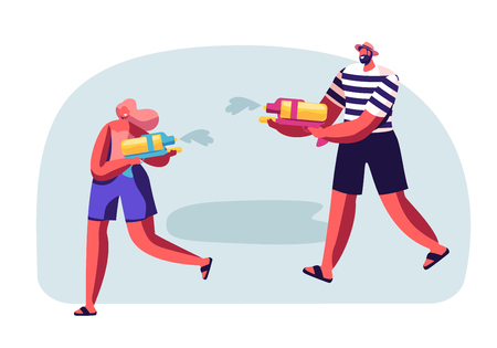 Happy People Playing and Shooting with Water Guns in Hot Summer Time Season Weather. Male and Female Characters Splashing on Street. Thailand New Year Tradition, Joy. Cartoon Flat Vector Illustration