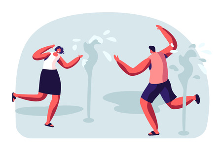 Happy People Splashing and Playing with Water in Hot Summer Time Season Weather. Male and Female Characters Running Wet, Fountains on Street. Leisure, Summertime Relax Cartoon Flat Vector Illustration
