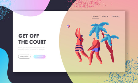 Male Characters Team Playing Beach Volleyball on Exotic Tropical Country. Athlete Sportsmen Hitting Ball, Leisure, Recreation Website Landing Page, Web Page. Cartoon Flat Vector Illustration, Banner