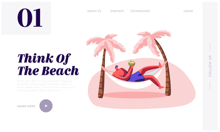 Man Relax in Hammock with Coconut in Hands. Summer Time Leisure on City Beach. Male Character Lounging on Resort Seaside, Rest Website Landing Page, Web Page. Cartoon Flat Vector Illustration, Banner Illustration