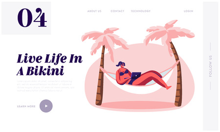 Woman Working on Laptop Lying in Hammock. Freelancer, Summer Time Leisure on City Beach. Lounging Female Character Vacation. Website Landing Page, Web Page. Cartoon Flat Vector Illustration, Banner Illustration