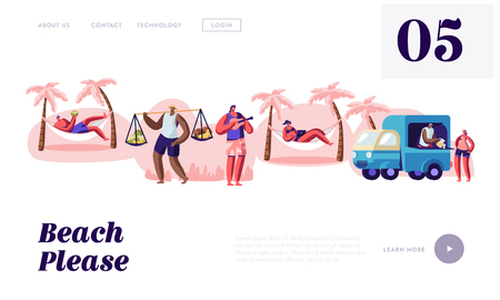 People Spend Time on Tropical City Beach, Lounging on Hammock, Drinking Coconut, Buying Juice and Fruits, Playing Ukulele, Website Landing Page, Web Page. Cartoon Flat Vector Illustration, Banner Illustration