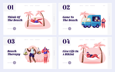 People Spend Time on City Beach Website Landing Page Templates Set, Lounge on Hammock, Drink Coconut, Buy Fruits, Play Ukulele, Website Landing Page, Web Page. Cartoon Flat Vector Illustration, Banner Reklamní fotografie - 123180339