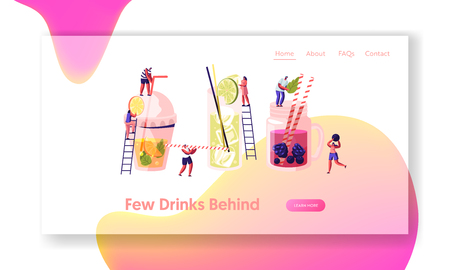 People Drinking Cold Drinks, Choose Different Beverages in Summer Time. Glass and Plastic Cups with Straw, Fruits, Ice Cubes. Website Landing Page, Web Page. Cartoon Flat Vector Illustration, Banner Standard-Bild - 122602169