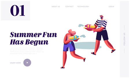 Happy People Shooting with Water Guns in Hot Summer Time Weather. Male and Female Characters Splashing, Summertime Fun, Joy. Website Landing Page, Web Page. Cartoon Flat Vector Illustration, Banner