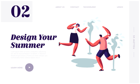 Happy People Splashing and Playing with Water in Hot Summer Time Season Weather. Running near Fountains. Leisure, Summertime. Website Landing Page, Web Page. Cartoon Flat Vector Illustration, Banner Illustration