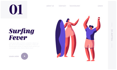 Happy Girls in Swim Wear Holding Surf Boards and Relaxing on Beach. Summer Party, Sports Recreation, Vacation, Leisure Resort Website Landing Page, Web Page. Cartoon Flat Vector Illustration, Banner