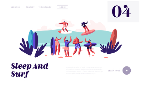 Surfers Riding Sea Wave on Boards and Relaxing on Sandy Beach, Summertime Vacation, Leisure, Surf Party, Sport, Summer Activity Website Landing Page, Web Page. Cartoon Flat Vector Illustration, Banner Illustration