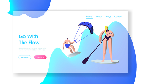 People Relaxing at Summertime Vacation, Water Sport Activity. Sup Board, Kitesurfing Leisure, Resort Active Recreation, Sport Website Landing Page, Web Page. Cartoon Flat Vector Illustration, Banner