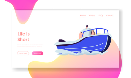Man Riding Motor Boat in Sea. Water Leisure, Lifesaver at Work, Summer Time Sports Activity, Vacation, Leisure, Trip Recreation Website Landing Page, Web Page. Cartoon Flat Vector Illustration, Banner