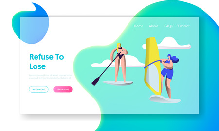 People Summertime Water Sport Activity. Sup Board, Sailing. Relaxing at Summer Time Vacation, Leisure, Resort Active Recreation Website Landing Page, Web Page. Cartoon Flat Vector Illustration, Banner