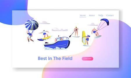 Summertime Vacation Leisure, Sports Activity. Surfing, Sup Board, Paragliding, Motor Boat Riding, Sailing, Sports Recreation Website Landing Page, Web Page. Cartoon Flat Vector Illustration, Banner
