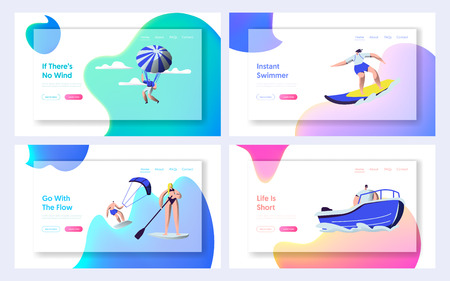 Summer Sports Activity Website Landing Page Templates Set. Surfing, Sup Board, Paragliding, Motor Boat Riding, Sailing Sport, Relax at Summertime. Web Page, Cartoon Flat Vector Illustration, Banner