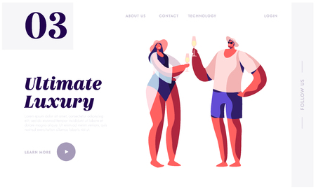 Happy Loving Couple in Swim Suits Drinking Champagne. Summertime Vacation, Trip, Luxury Resort Entertainment, Leisure on Yacht Website Landing Page, Web Page. Cartoon Flat Vector Illustration, Banner Иллюстрация