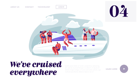 Happy People Relaxing on Luxury Yacht Jumping to Sea, Drinking Champagne, Sun Bathing at Ocean. Summertime Vacation, Leisure Website Landing Page, Web Page. Cartoon Flat Vector Illustration, Banner Illustration