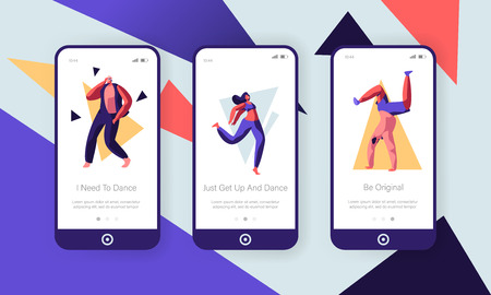 Young People Dancing Concept. Sparetime, Active Lifestyle, Men and Women Spend Time at Disco Leisure, Hobby Mobile App Page Onboard Screen Set for Website or Web Page, Cartoon Flat Vector Illustration