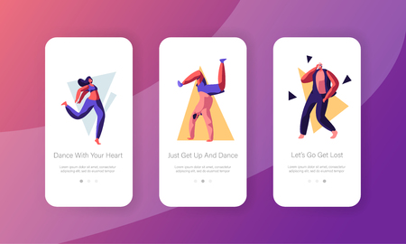 Young People Dancing on Disco Party Concept. Men and Women in Fashioned Clothing Moving to Music Rhythm Mobile App Page Onboard Screen Set for Website or Web Page, Cartoon Flat Vector Illustration