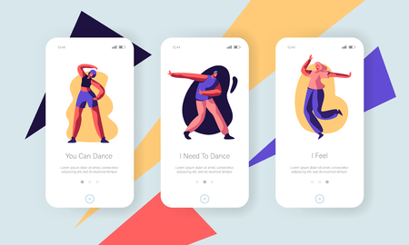 People in Festive Clothing Dancing Sparetime Concept. Friends Spend Time Disco Party, Dance Hobby Leisure Mobile App Page Onboard Screen Set for Website or Web Page, Cartoon Flat Vector Illustration