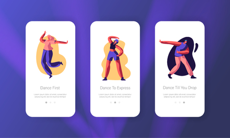 Disco Dance Leisure or Hobby Concept. Happy People Clubbing and Dancing at Nightclub, Nightlife Event Mobile App Page Onboard Screen Set for Website or Web Page, Cartoon Flat Vector Illustration