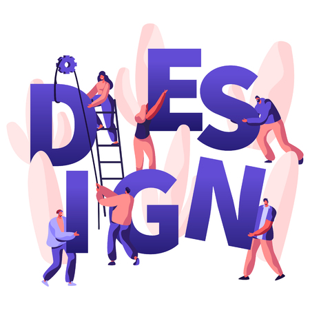 Design Concept. Male and Female Characters Designers Create New Project. Teamworking People with Crane and Ladder Working Together Poster, Banner, Flyer, Brochure. Cartoon Flat Vector Illustration 向量圖像