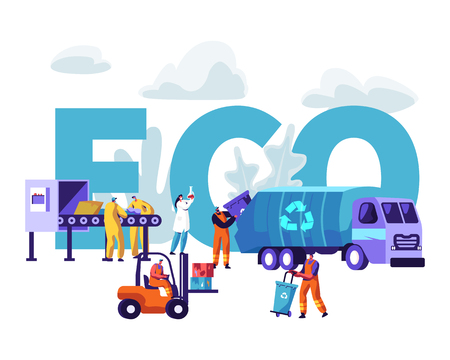 Garbage Recycling Eco Concept. Workers Collecting Litter to Truck. Scientist Testing Water in Flask, Metallurgy Factory Working Process Poster, Banner, Flyer, Brochure Cartoon Flat Vector Illustration Illustration