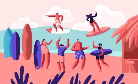 Young Surfers Riding Sea Wave on Surf Boards and Relaxing on Sandy Beach with Bungalow. Summertime Vacation, Leisure, Surfing Sport, Recreation, Summer Sports Activity Cartoon Flat Vector Illustration Ilustração