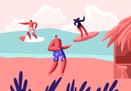 Young Surfers Riding Sea Wave on Surf Boards and Relaxing on Summer Sandy Beach. Summertime Party, Vacation, Leisure Surfing Sport, Recreation, Sports Activity, Resort Cartoon Flat Vector Illustration Ilustração