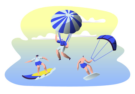 Summer Time Water Leisure Sports Activity. Surfing, Kitesurfing, Paragliding, Skydiving. Young Men and Women Relax at Summertime Vacation, Leisure, Sport Recreation. Cartoon Flat Vector Illustration