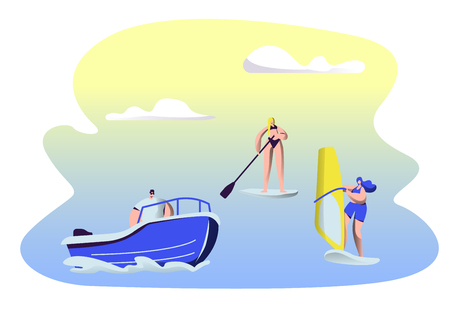 People Summertime Water Sport Activity. Surfing, Sup Board, Motor Boat Riding, Sailing. Men and Women Relax at Summer Time Vacation, Leisure, Resort Active Recreation Cartoon Flat Vector Illustration