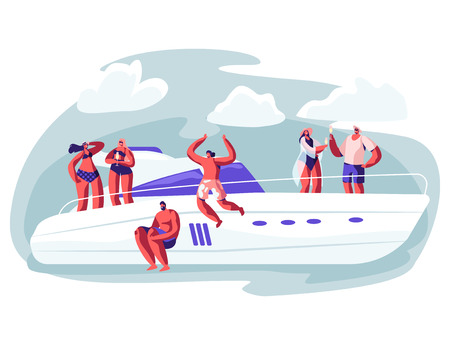 Young People Relaxing on Luxury Yacht at Ocean. Summertime Vacation, Happy Male and Female Characters Resting on Ship Jumping to Sea, Drinking Champagne, Sun Bathing. Cartoon Flat Vector Illustration Banque d'images - 123180376