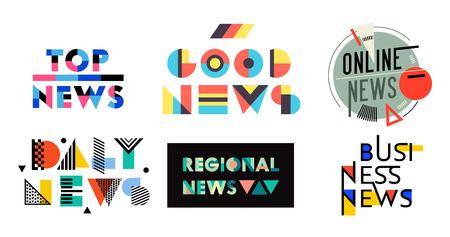 Nieuws Geometrische Labels, Badges, Quotes Set. Top, goed, online, dagelijks, regionaal, zakelijk nieuws, media designelementen, tijdschrift typografie bericht, informatiestickers, tekens pictogrammen. vectorillustratie