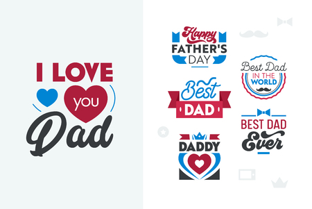 Happy Fathers Day Typography Set. Quotes, Emblems, Labels, Icons and Signs for Greeting Card, Banner, T-shirt, Logo Design. Best Dad Ever. Elements for Social Media or Print. Vector Illustration