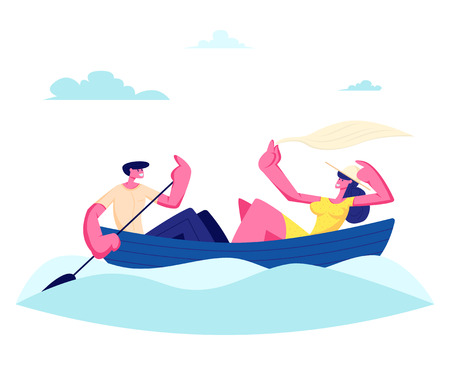 Young Happy Couple of Man and Woman Floating Boat at Water Surface. Male Character Rowing with Paddle, Girl Holding Shawl. Summertime Vacation, Loving People Sparetime Cartoon Flat Vector Illustration Illustration