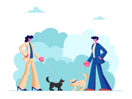 Male and Female Characters Walking with Dogs in Public City Park. People Spending Time with Pets Outdoors on Summer Time. Relax, Leisure, Communication with Animals. Cartoon Flat Vector Illustration
