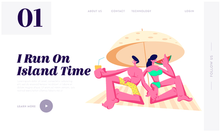 Happy Young Couple Relaxing on Beach under Sun Umbrella Drinking Juice, Eating Watermelon. Summer Vacation, Traveling, Leisure, Website Landing Page, Web Page. Cartoon Flat Vector Illustration, Banner Illustration