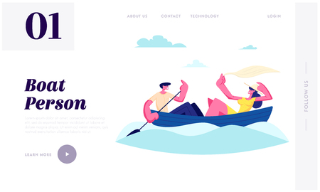 Young Happy Couple Floating Boat. Man Rowing Water with Paddle, Girl Hold Shawl. Summertime Vacation, Loving People Sparetime Website Landing Page, Web Page. Cartoon Flat Vector Illustration, Banner Illustration