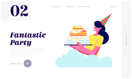 Cheerful Smiling Girl in Festive Striped Hat Holding Cake. Birthday Party Celebration, Holiday, Rejoice Woman, Congratulation Website Landing Page, Web Page. Cartoon Flat Vector Illustration, Banner Ilustrace