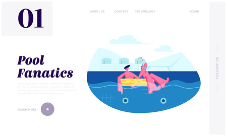 Summer Time Sparetime, Man Enjoying Cocktail Floating at Inflatable Ring in Swimming Pool. Tourist Relaxing on Resort, Leisure Website Landing Page, Web Page. Cartoon Flat Vector Illustration, Banner Illustration