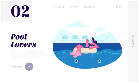 Young Woman Floating Inflatable Ring in Swimming Pool and Drinking Cocktail, Relaxing on Resort, Summer Vacation, Leisure, Website Landing Page, Web Page. Cartoon Flat Vector Illustration, Banner
