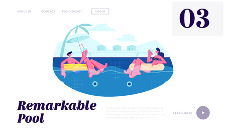 Happy Couple Relaxing on Resort, Floating at Inflatable Rings in Swimming Pool and Drinking Cocktails at Honeymoon. Summertime Website Landing Page, Web Page. Cartoon Flat Vector Illustration, Banner