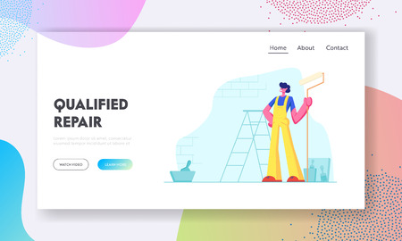 Home Repair Worker with Roller for Wall Painting. Master in Uniform Overalls and Equipment Professional Construction Service Website Landing Page, Web Page. Cartoon Flat Vector Illustration, Banner